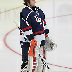 COBOURG, - Dec 16, 2015 -  Game #7 - United States vs Switzerland at the 2015 World Junior A Challenge at the Cobourg Community Centre, ON. Ryan Bednard #1 of Team United States during the National Anthem .(Photo: Tim Bates / OJHL Images)