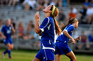 3 JUNE 2011 -- FENTON, Mo. --  Liberty High School soccer player Haley Baldrige (5) reacts after missing a shot on goal against Glendale High School during the MSHSAA Class 3 girls' soccer semifinal at the Anheuser-Busch Center in Fenton, Mo. Friday, June 3, 2011. Liberty topped the Lady Falcons 8-0. Photo © copyright 2011 Sid Hastings.