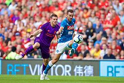 DUBLIN, REPUBLIC OF IRELAND - Saturday, August 4, 2018: Liverpool's James Milner tackles Napoli's Fabián Ruiz during the preseason friendly match between SSC Napoli and Liverpool FC at Landsdowne Road. (Pic by David Rawcliffe/Propaganda)