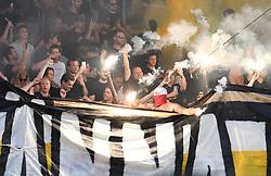 AIK supporters during 1st Leg Football match between NK Maribor (SLO) and AIK Fotboll (SWE) in Second qualifying round of UEFA Champions League 2019/20, on July 24, 2019, in Stadium Ljudski vrt, Maribor, Slovenia. Photo by Milos Vujinovic / Sportida