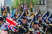 VE Day 70 commemorations -  marking historic anniversary of end of the Second World War in Europe. following a Service of Thanksgiving at Westminster Abbey, a parade of Service personnel and veterans, led by a military pipe band, and a flypast - down whitehall and into Horse Guards Parade.