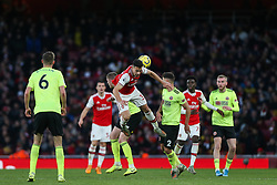 Gabriel Martinelli of Arsenal is nudge off the ball going for a header - Mandatory by-line: Arron Gent/JMP - 18/01/2020 - FOOTBALL - Emirates Stadium - London, England - Arsenal v Sheffield United - Premier League