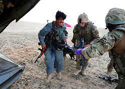 © London News Pictures. 11/06/11. AFGHANISTAN.The RAF Regiment's Medical Emergency Response Team (MERT) is made up of two teams based in 'Main Operating Base Bastion', they are responsible for extracting casualties from anywhere within Helmand Province.  The MERT consists of a doctor, an emergency department nurse and two paramedics.  In addition four Royal Air Force Regiment gunners provide armed protection when they land and leave the helicopter to collect the casualty.   Caption must read Alison Baskerville/LNP...