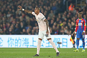 Manchester United Midfielder Ashley Young gestures during the Premier League match between Crystal Palace and Manchester United at Selhurst Park, London, England on 27 February 2019.