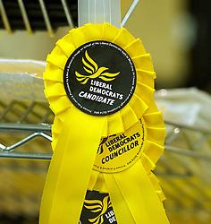 Liberal Democrat York Spring Conference , Day 1. Friday, 7th March 2014.  York , UK . Liberal Democrat  rosettes   Picture by Elliot Franks / i-Images