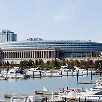 Soldier Field sports stadium in Chicago where the Chicago Bears NFL football team play.