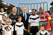 02.AUGUST.2011. MONACO<br /> <br /> FRENCH FORMER GOALKEEPER FABIEN BARHES, PRINCE ALBERT II OF MONACO, FRENCH FOOTBALL PLAYER PATRICE EVRA AND CHARLES KABORE OF MARSEILLE PARTICIPATE AT A CHARITY FOOTBALL MATCH BETWEEN FRENCH FOOTBALL TEAM O.M. AND BRITISH MANCHESTER ALL STARS IN MONACO, THE MATCH WAS SET UP FOR THE BENEFIT OF FORMER FOOTBALL PLAYER, PASCAL OLMETTA'S ASSOCIATION 'UN SOURIRE, UN ESPOIR POUR LA VIE' (A SMILE, A HOPE FOR LIFE). THE AIM OF THE ASSOCIATION IS TO IMPROVE THE PHYSICAL AND MORAL WELL BEING OF SICK CHILDREN AS WELL AS THEIR FAMILIES.<br /> <br /> BYLINE: EDBIMAGEARCHIVE.COM<br /> <br /> *THIS IMAGE IS STRICTLY FOR UK NEWSPAPERS AND MAGAZINES ONLY*<br /> *FOR WORLD WIDE SALES AND WEB USE PLEASE CONTACT EDBIMAGEARCHIVE - 0208 954 5968*