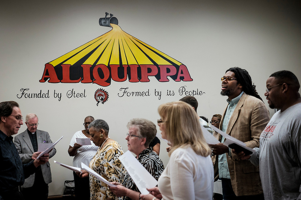 Herb Bailey, Ministry Director at Uncommon Grounds Cafe', participates in a National Day of Prayer service at the Aliquippa City Building in Aliquippa, PA.
