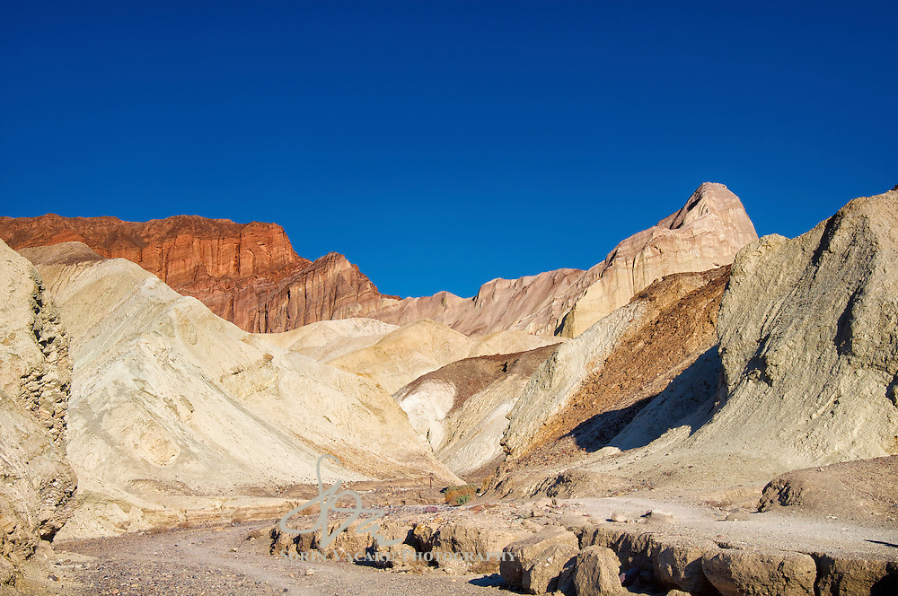 Red Cathedral to the left and Manly Beacon to the right of Golden Canyon, Death Valley National Park