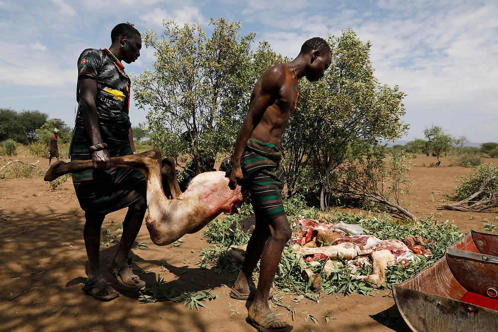 Men gather parts of a slaughtered camel that has been speared to death during a traditional initiation ceremony into adulthood of men aged between 18 and 20 in a Pokot community of herdsmen in Baringo County, Kenya, October 2, 2018.