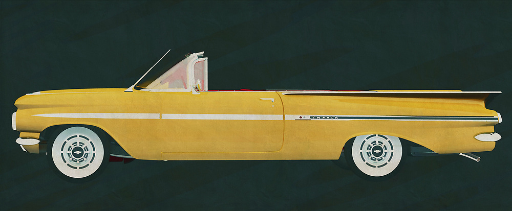 The Chevrolet Impala can be found with a fixed roof but also as a convertible. The Chevrolet Impala convertible is a dream car to make long journeys on the American roads and this in the style of the 50s.<br /> <br /> This painting of a Chevrolet Impala can be printed very large on different materials. The work has a panoramic ratio and is very suitable to add a detail in a workspace, showroom or just at home that will impress your visitors. –<br /> <br /> BUY THIS PRINT AT<br /> <br /> FINE ART AMERICA<br /> ENGLISH<br /> https://janke.pixels.com/featured/the-chevrolet-impala-convertible-a-dream-to-tour-around-in-jan-keteleer.html<br /> <br /> WADM / OH MY PRINTS<br /> DUTCH / FRENCH / GERMAN<br /> https://www.werkaandemuur.nl/nl/shopwerk/De-Chevrolet-Impala-cabriolet-1959/606001/132<br /> <br /> -