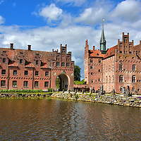 Two Main Buildings of Egeskov Castle in Kv&aelig;rndrup, Denmark <br />