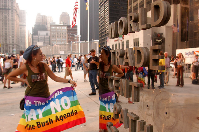 Ana Robles of Miami, Fl protest at the World Trade Center,  Ground Zero during the Ring out the GOP on Saturday August 28 in New York City..Sandy Schaeffer/MAI/Landov