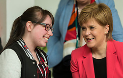 Scottish National Party leader, Nicola Sturgeon, joins Council candidates in Edinburgh to launch the SNP's manifesto for the 2017 Local Government election.<br /> <br /> Pictured: First Minister, Nicola Sturgeon with Sarah Lomax, who uses the WHALE Community Arts Centre