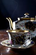 antique tea set steaming