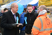 © Licensed to London News Pictures. 21/02/2013. Eastleigh, UK Damian Green, Conservative MP and Minister of State, Minister for Policing and Criminal Justice,  Campaigning for the  Eastleigh by-election today 21 February 2013. Photo credit : Stephen Simpson/LNP