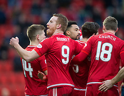 Aberdeen&rsquo;s Rooney celebrates after scoring their first goal. <br /> half time : St Johnstone 0 v 2 Aberdeen, SPFL Ladbrokes Premiership played 6/2/2016 at McDiarmid Park, Perth.