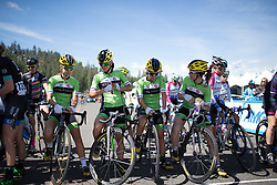 Riders of the Cylance Pro Cycling line up at the start line of the first, 117 km road race stage of the Amgen Tour of California - a stage race in California, United States on May 19, 2016 in South Lake Tahoe, CA.