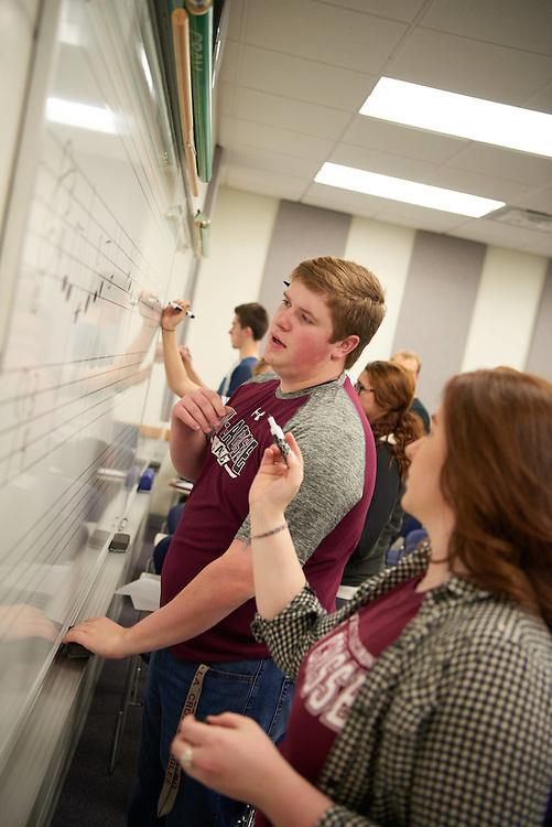 "-UWL UW-L UW-La Crosse University of Wisconsin-La Crosse; Candid; Center for the ArtsCFA; Classroom; day; December; Inside; Man men; Music; Pen; Pencil; Student students; ""Whiteboard;Chalkboard"""