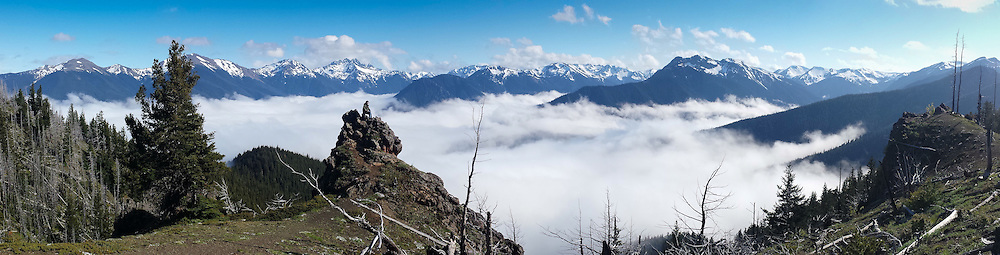 Above the clouds on Deer Park ridge, Olympic National Park WA <br />