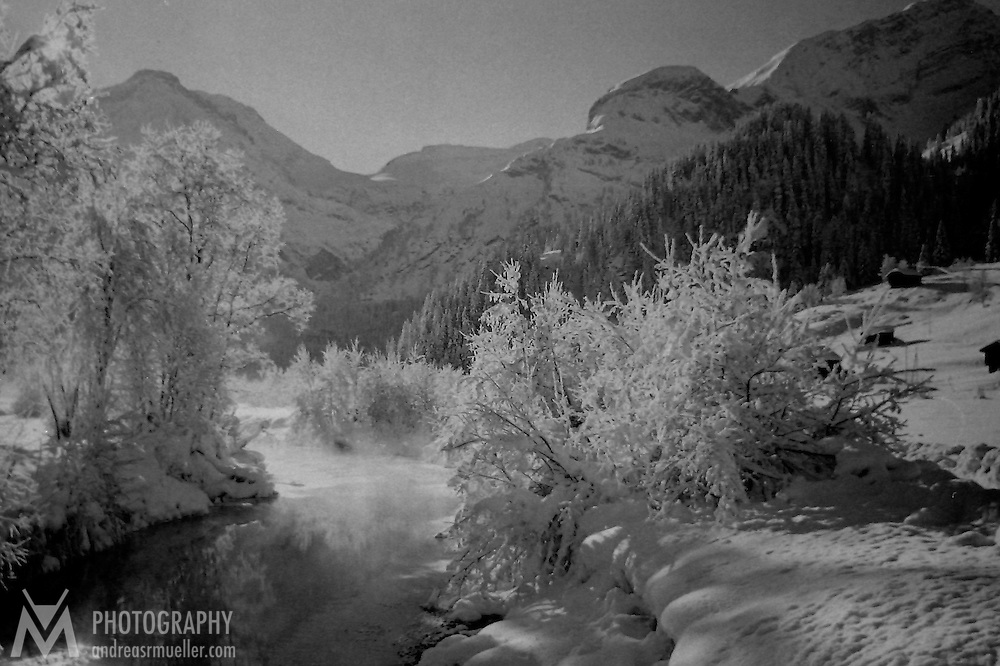 Winter landscape in the Swiss alps.<br />