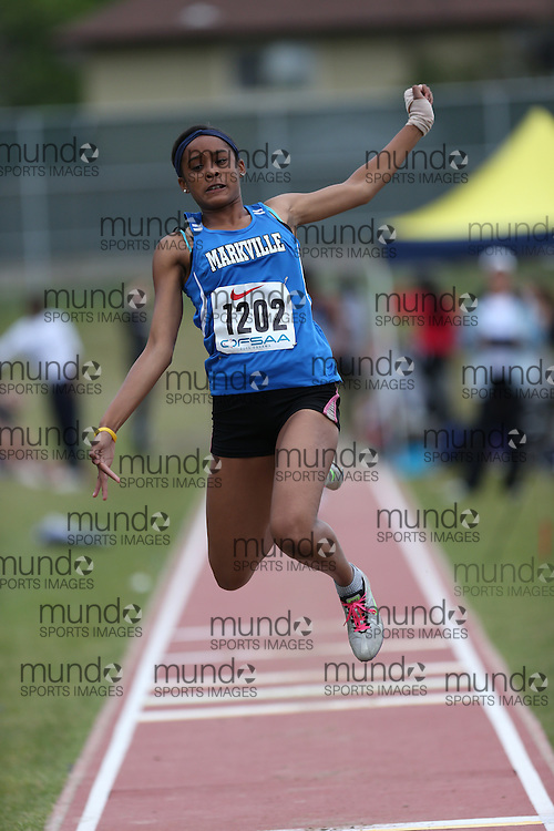 Taliyah Campbell of Markville SS - Markham competes in the junior girls long jump at the 2013 OFSAA Track and Field Championship in Oshawa Ontario, Thursday,  June 6, 2013.<br /> Mundo Sport Images / Sean Burges