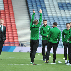 Neil Lennon jokes with his player ahead of the match between Hibs v Aberdeen, William Hill Scottish Semi Final, Hampden, Saturday 22 April 2017  (c) Angie Isac | SportPix.org.uk