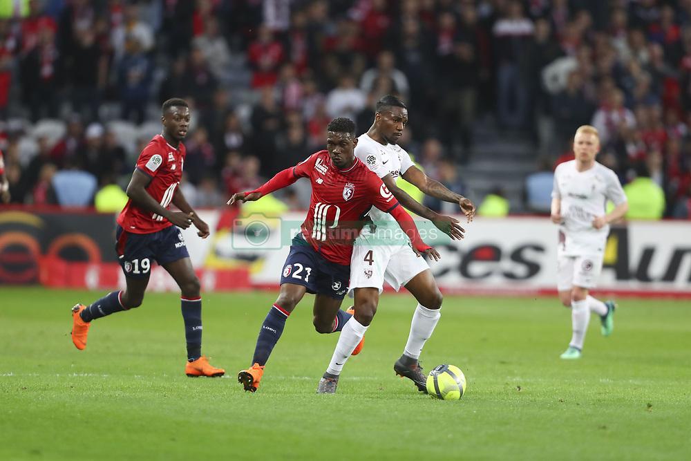 April 28, 2018 - Villeneuve D Ascq, France - Yves Bissouma ( Lille ) vs Georges Mandjeck  (Credit Image: © Panoramic via ZUMA Press)
