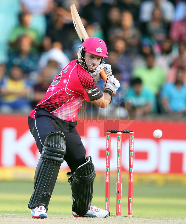 Michael Lumb during match 18 of the Karbonn Smart CLT20 South Africa between The Sydney Sixers and The Mumbai Indians held at Kingsmead Park in Durban, South Africa on the 22nd October 2012..Photo by Steve Haag/SPORTZPICS/CLT20