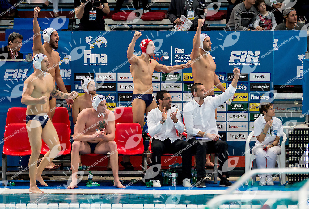 Team FRA<br /> FINA Men's Water Polo Olympic Games Qualifications Tournament 2016<br /> quarter final<br /> France FRA (White) Vs Netherlands NED (Blue)<br /> Trieste, Italy - Swimming Pool Bruno Bianchi<br /> Day 06  08-04-2016<br /> Photo G.Scala/Insidefoto/Deepbluemedia
