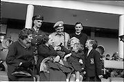 10/04/1963<br /> 04/10/1963<br /> 10 April 1963<br /> Advance party of the 39th Battalion leaves for the Congo from Dublin Airport. Picture shows  Comdt. P. Cahalane, (Courtmacsherry), O/C 3rd Armoured Squadron (centre back), being seen of by family and friends; Front (l-r): Miss M. Burke, (Skibereen); Sheila Cahalane; Patricia Cahalane and Mrs Cahalane and daughter Barbara. Back (l-r) Comdt. J. Laffanand Fr. P. Sheehy, (Skibereen).