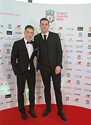 LIVERPOOL, ENGLAND - Thursday, May 12, 2016: Liverpool's Harry Wilson and Jordan Williams arrive on the red carpet for the Liverpool FC Players' Awards Dinner 2016 at the Liverpool Arena. (Pic by David Rawcliffe/Propaganda)