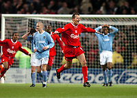 Photo: Richard Lane.<br /> Manchester City v Liverpool. Barclaycard Premiership.<br /> 28/12/2003.<br /> Dietmar Hamann celebrates scoring Liverpool's second goal.