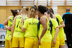 Players of ZKK Cinkarna Celje in action during basketball match between ZKK Cinkarna Celje (SLO) and MBK Ruzomberok (SVK) in Round #6 of Women EuroCup 2018/19, on December 13, 2018 in Gimnazija Celje Center, Celje, Slovenia. Photo by Urban Urbanc / Sportida
