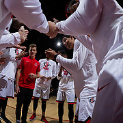 09 December 2017:  The San Diego State men's basketball team hosts the California Golden Bears Saturday afternoon. San Diego State Aztecs guard Trey Kell (3) talks to the team prior to taking on Cal. The Aztecs trail 39-34 at halftime.<br /> www.sdsuaztecphotos.com
