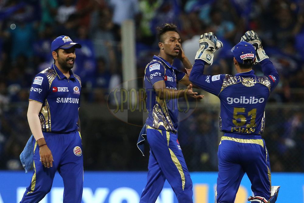 Mumbai Indians players celebrates the wicket of Nitish Rana of the Kolkata Knight Riders during match thirty seven of the Vivo Indian Premier League 2018 (IPL 2018) between the Mumbai Indians and the Kolkata Knight Riders   held at the Wankhede Stadium in Mumbai on the 6th May 2018.<br /> <br /> Photo by: Vipin Pawar /SPORTZPICS for BCCI