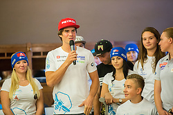 Zan Kosir during official presentation of the outfits of the Slovenian Ski Teams before new season 2015/16, on October 6, 2015 in Kulinarika Jezersek, Sora, Slovenia. Photo by Vid Ponikvar / Sportida