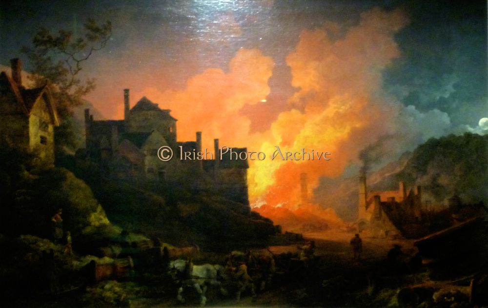 Coalbrookdale by Night, Philippe Jacques de Loutherbourg, 1801.  Coalbrookdale is a village in the Ironbridge Gorge in Shropshire, England, containing a settlement of great significance in the history of iron ore smelting.  This is where iron ore was first smelted by Abraham Darby.