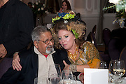 SIR VIDIA NAIPAUL; KATRINE BOORMAN; , Liberatum 10th Anniversary dinner in honour of Sir Peter Blake. Hosted by Pable Ganguli and Ella Krasner. The Corinthia Hotel, Whitehall. London. 23 November 2011.