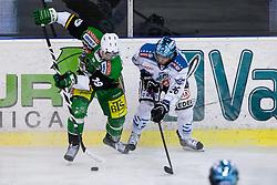 18.01.2013, Hala Tivoli, Ljubljana, SLO, EBEL, HDD Olimpija Ljubljana vs EHC Liwest Linz, 43. Runde, im Bild Ziga Pance (HDD Olimpija, #19) and Rob Hisey (EHC Liwest Linz, #26) // during the Erste Bank Icehockey League 43rd Round match between HDD Telemach Olimpija Ljubljana and EHC Liwest Linz at the Hala Tivoli, Ljubljana, Slovenia on 2013/01/18. EXPA Pictures © 2013, PhotoCredit: EXPA/ Sportida/ Matic Klansek Velej..***** ATTENTION - OUT OF SLO *****