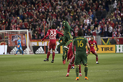 March 10, 2018 - Harrison, New Jersey, United States - Vincent Bezecourt (88) of Red Bulls & Dairon Asprilla (27) of Portland Timbers fight for ball regular MLS game at Red Bull Arena Red Bulls won 4 - 0 (Credit Image: © Lev Radin/Pacific Press via ZUMA Wire)