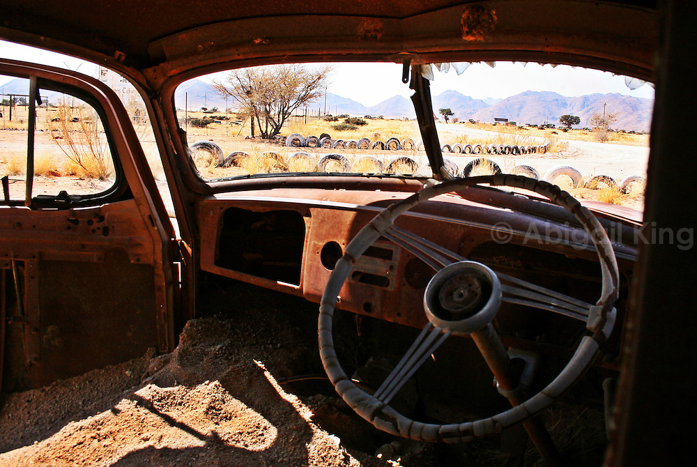 The deserted cars in Solitaire, in the Namib Desert