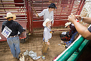 """01 SEPTEMBER 2011 - ST. PAUL, MN:  High school rodeo participants wait to compete at the Minnesota State Fair. The Minnesota State Fair is one of the largest state fairs in the United States. It's called """"the Great Minnesota Get Together"""" and includes numerous agricultural exhibits, a vast midway with rides and games, horse shows and rodeos. Nearly two million people a year visit the fair, which is located in St. Paul.   PHOTO BY JACK KURTZ"""