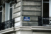 Andre Marie Ampere (1775-1836) French mathematician and physicist: Electrodynamics. Paris street sign bearing his name.