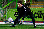Forest Green Rovers goalkeeper James Montgomery (13) warming up  during the EFL Sky Bet League 2 match between Forest Green Rovers and Tranmere Rovers at the New Lawn, Forest Green, United Kingdom on 23 October 2018.