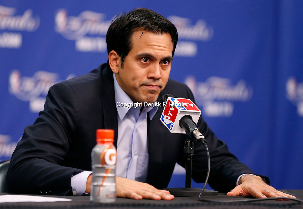 Jun 16, 2013; San Antonio, TX, USA; Miami Heat head coach Erik Spoelstra addresses the media after game five in the 2013 NBA Finals at the AT&T Center. San Antonio Spurs won 114-104. Mandatory Credit: Derick E. Hingle-USA TODAY Sports