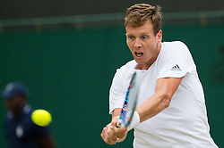 LONDON, ENGLAND - Monday, July 4, 2016:  Tomas Berdych (CZE) during the Gentlemen's Single 4th Round match on day eight of the Wimbledon Lawn Tennis Championships at the All England Lawn Tennis and Croquet Club. (Pic by Kirsten Holst/Propaganda)