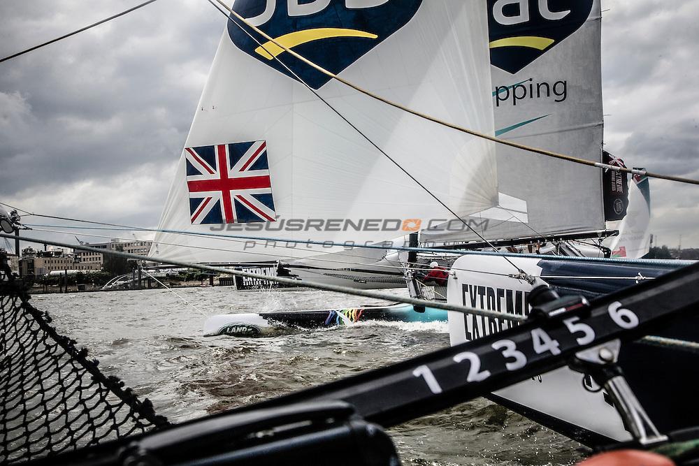 2015 Extreme Sailing Series - Act 5 - Hamburg.<br /> GAC Pindar skippered by Seve Jarvin (AUS) and crewed by Adam Minoprio (NZL), Marcus Ashley-Jones (AUS), James Wierzbowski (AUS) and James Corrie (AUS).<br /> Credit Jesus Renado.