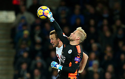 Kasper Schmeichel of Leicester City punches the ball clear of Harry Kane of Tottenham Hotspur - Mandatory by-line: Robbie Stephenson/JMP - 28/11/2017 - FOOTBALL - King Power Stadium - Leicester, England - Leicester City v Tottenham Hotspur - Premier League