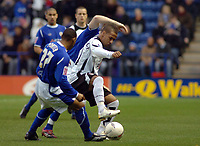 Photo: Kevin Poolman.<br />Leicester City v Fulham. The FA Cup. 06/01/2007. Wayne Routledge of Fulham holds the ball up from Leicester's Levi Porter.